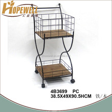 wooden tea serving trolley , hotel room service trolley designs