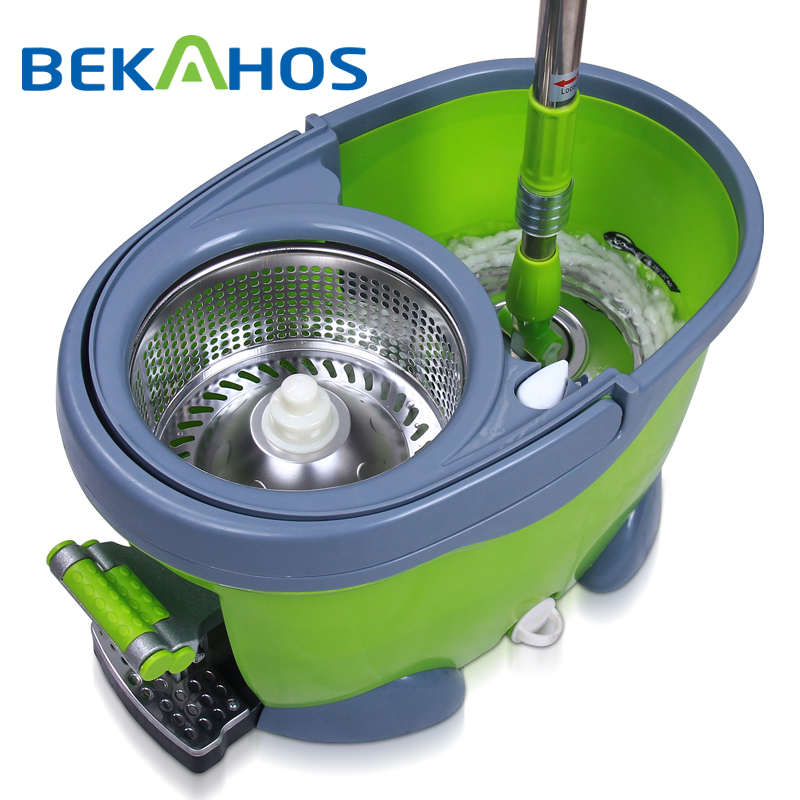 Bekahos magic spin mop with telescopic pole and easily eco-friendly cleaning tools rotating mop and bucket with foot pedal