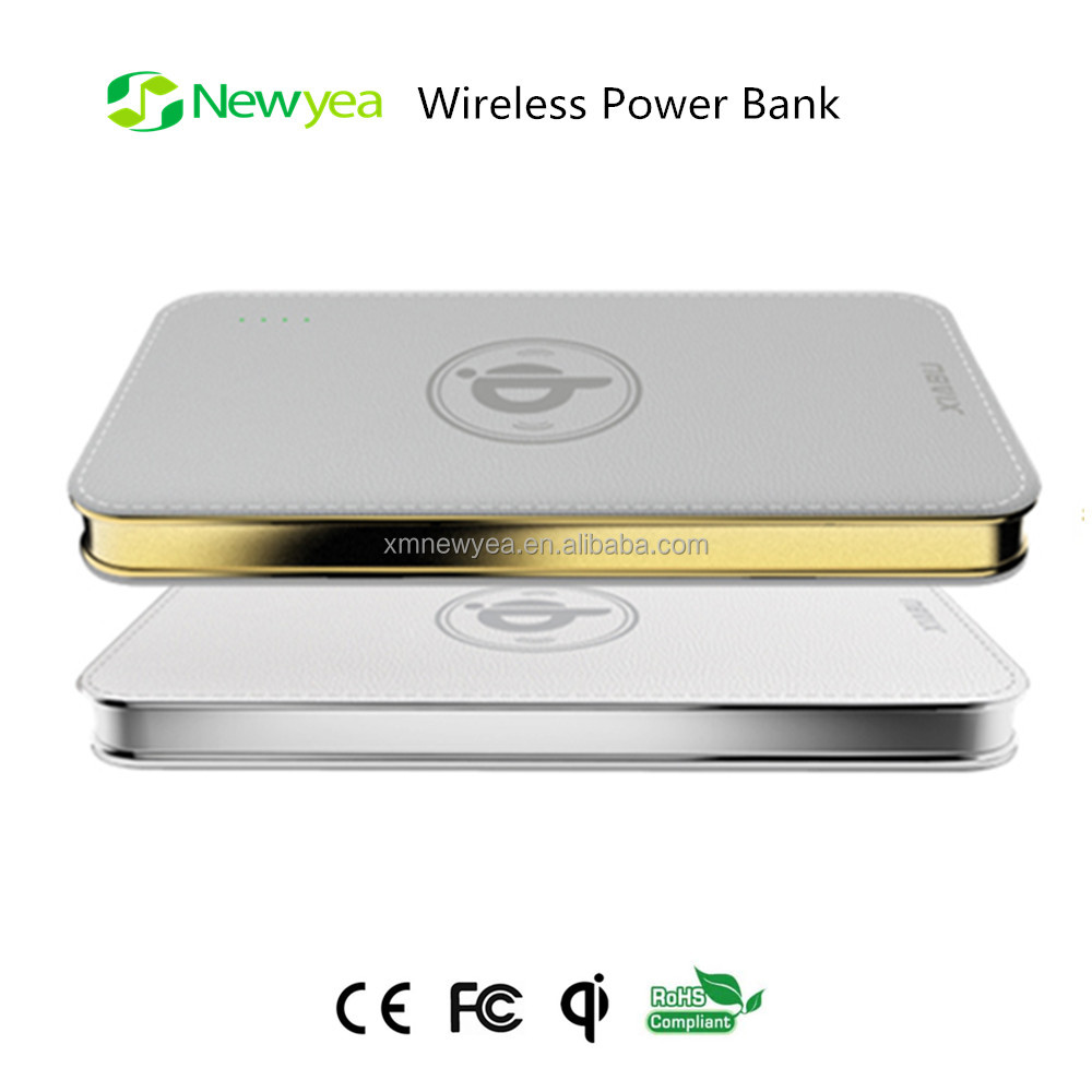(A12) Qi Wirless Induction Charger Power Bank Pad Made in China With Dual USB Output, LED Flashlight For Wireless Power Charging