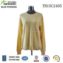 BLUE PHOENIX roll neck yellow 100% cashmere sweater design for women