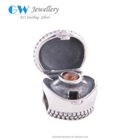 Engagement Crystal Ring In Heart Box 925 Sterling Bali Silver Beads X019