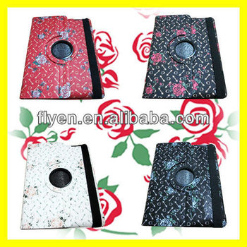 Rose Flower Pattern For iPad 4 2 3 PU Leather Case Rotating 360 Degree Stand With Magnetic Wholesale Good Price