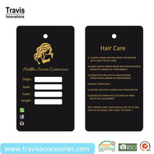 Custom Personalized Brand Hair Extension Hang Tag With Gold Stamping