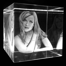 3D photo laser etched crystal cube for gift or home decoration
