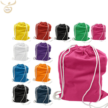 new style fashion orange color cotton drawstring bag ladies children's backpack
