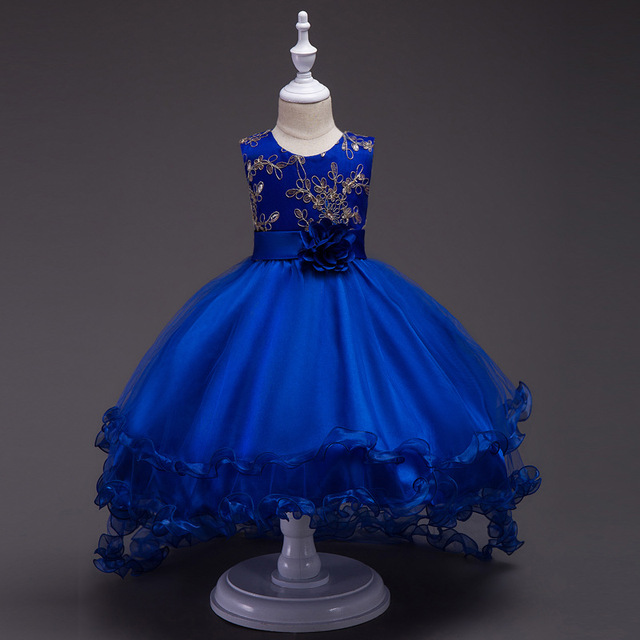 New Arrival Kids Ball Gown Frock Girls Long Tail Embroidery Bridesmaid Party Dress