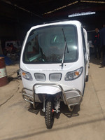 electric cargo tricycle with cab 3 wheel closed 2 passenger seat
