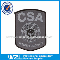 CSA Merrow woven clothing patch, security woven t shirt tags patch