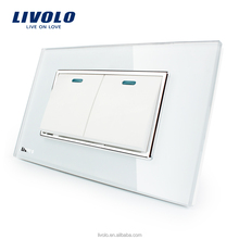 Manufacturer Livolo Luxury White Crystal Glass Panel switch Two 2 Gangs two 2 Way Push Button Home Wall Switch VL-C3K2S-81