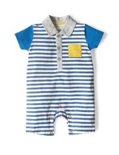 Latest Designs Short Sleeve Blue Stripes With Yellow Pockets Babywear Romper Cotton Baby Clothes