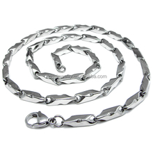 Men's Stainless Steel Jewelry European Style Greek Key Stick Link Chain High Polish Necklace LTC019