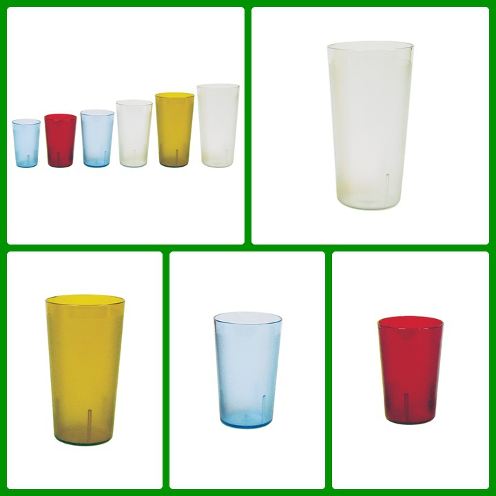 Stackable design 5 to 20 oz reusable plain surface plastic colored water glass Tumblers