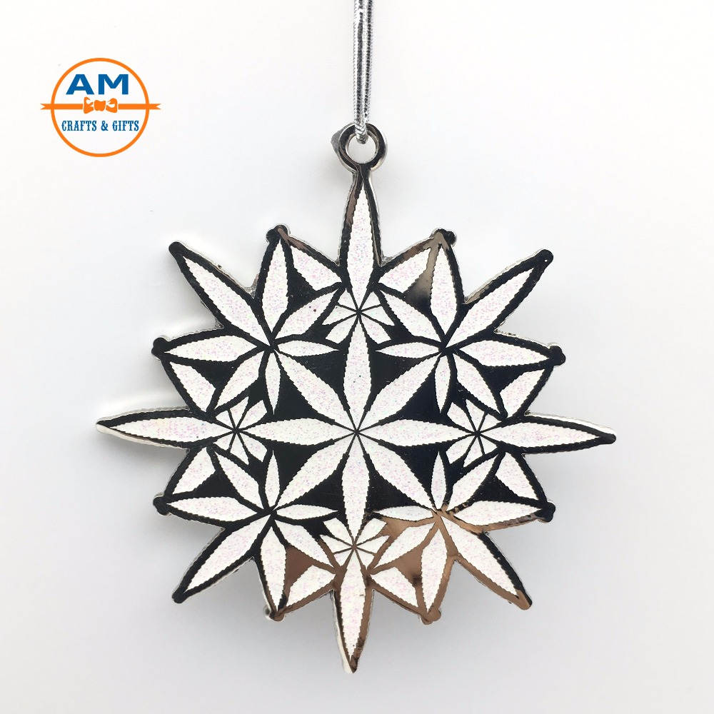 X'mas Decor Christmas Hanging Ornaments, 2018 Snowflake Christmas Metal Ornaments