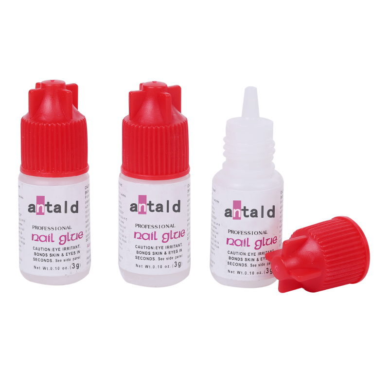 OEM Accepted Non Toxic Fast Cure 3g Clearly Liquid Bond Nail Glue for Nail Decoration
