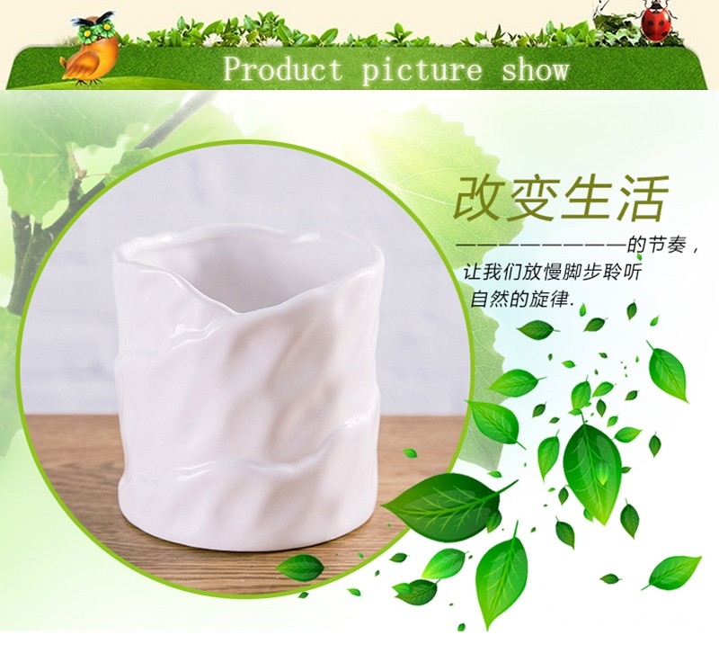 Indoor decorative painting designs white small ceramic flower pot