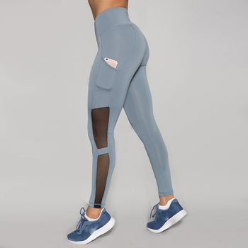 Sexy Women Active Wear Custom Compression Tights Pants Mesh Panel Side Pockets Yoga Leggings