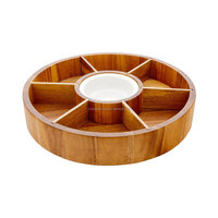 Chip and dip sderving set which made from sustainable wood with porcelain dip bowl