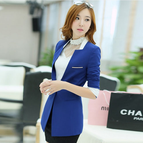 N13046 Hot Sale Womens Midi Coat 2014 Stylish New Design Casual women blazer