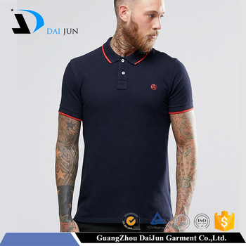 Daijun oem fashion men blue 220g 100% pique cotton embroidery plain custom unbranded polo shirts