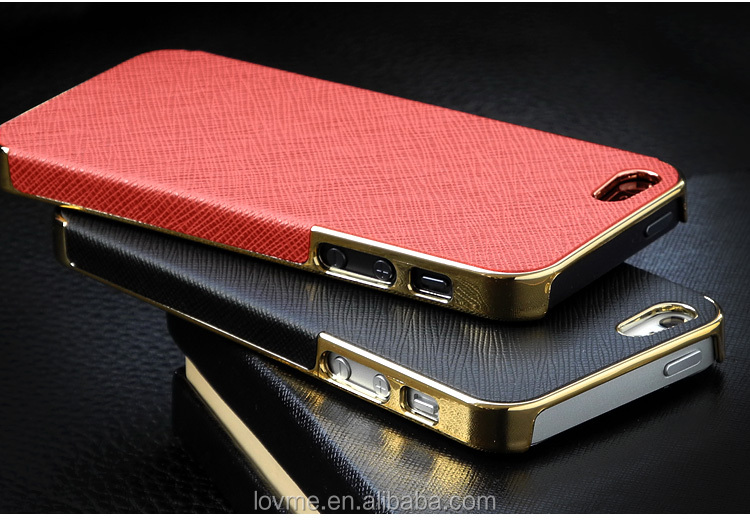 LUXURY LEATHER GOLD CHROME HARD BACK CASE COVER FOR APPLE IPHONE 5 5S