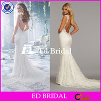 ST356 New Arrival Gorgeous Appliqued Deep V Neck Lace With Hand Made Flowers Beaded Backless Wedding Dresses