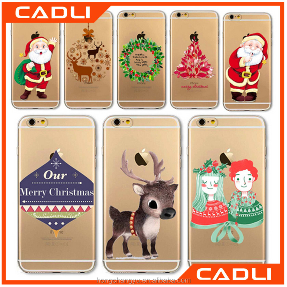 Christmas Phone Case For iPhone 5 SE 6 6s 6Plus Santa Claus Tree Animals Transparent TPU Slicone Cover Shell cover