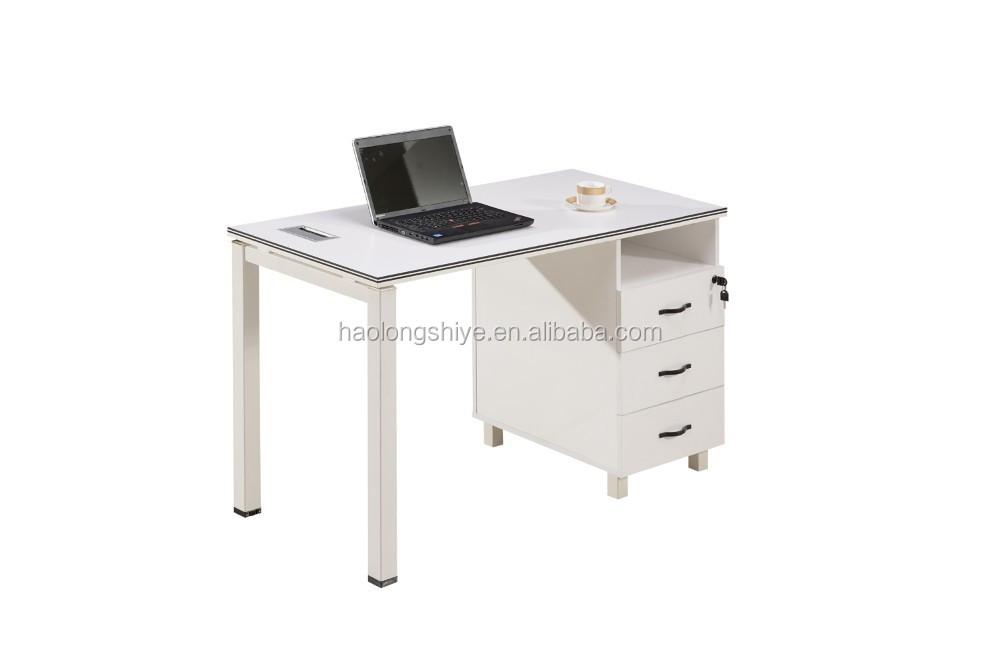 White Melamine Modern fice Staff Desk Wooden Top