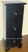 three drawers and top openable black wooden jewelry box
