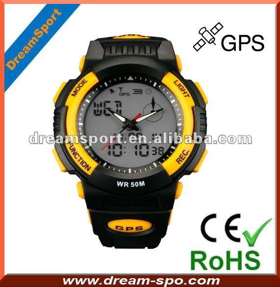 Multifunction GPS running watch with speedmeter / time adjustment / guide function