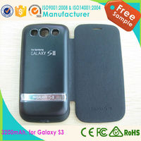 3200mAh External Backup Battery Charger Case, Power Bank Flip Cover For Samsung Galaxy S3