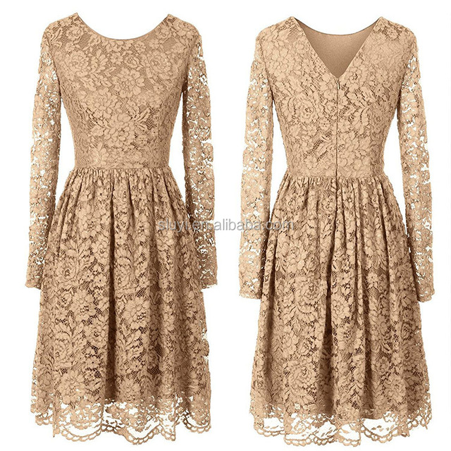 bridesmaid dress short gold yellow color long sleeve v neck plus size womens prom dresses beaded lace party dresses