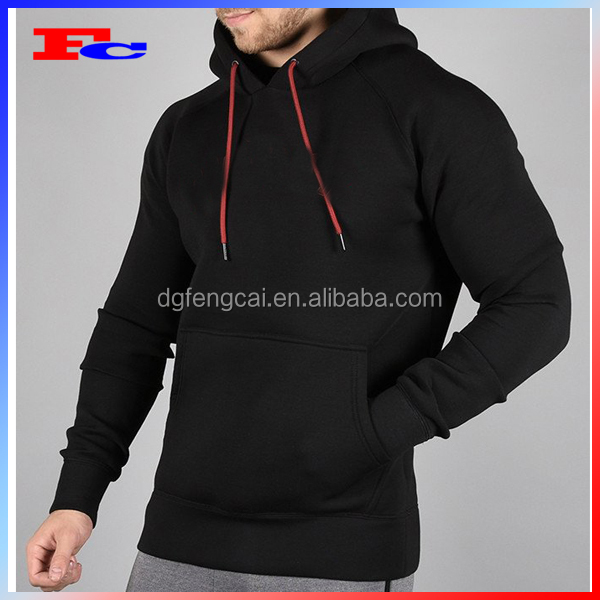 Wholesale Cheap Sport Wear Men's Red Drawstring Plain Tracksuit Black Casual Pullover Hoodie