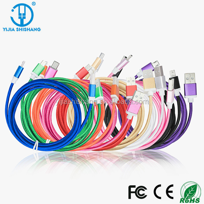 High quality Nylon Braide Micro USB Data Charging Cable for custom OEM