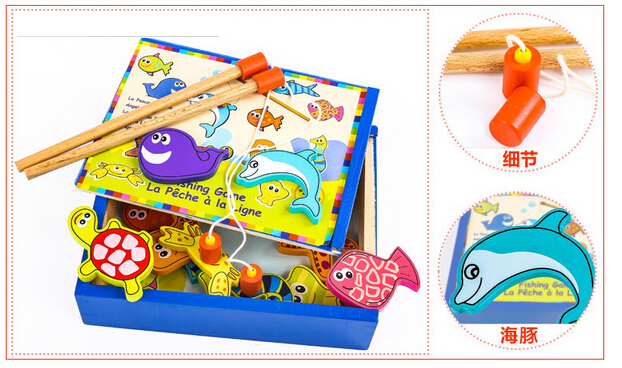 2016 new design Wooden educational toys magnetic fishing playsets box Packed
