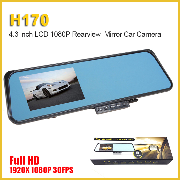 "4.3"" Full hd 1080P dashcam dual lens night vision car rearview mirror camera dvr"