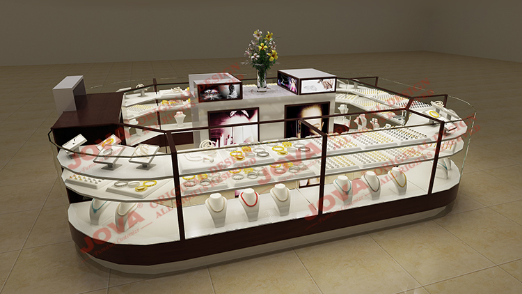 Mall Furniture Display Jewelry Shopping Mall Showcase Kiosk With Custom Design