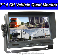 2017 hot sale motorized 4 Ch quad car monitor with reverse camera