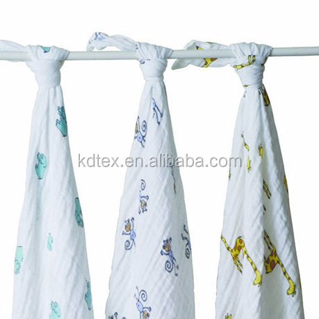 "Baby Muslin Blanket Swaddle Wrap Diaper 100% Organic Cotton Super Soft 47x47"" After Washed"
