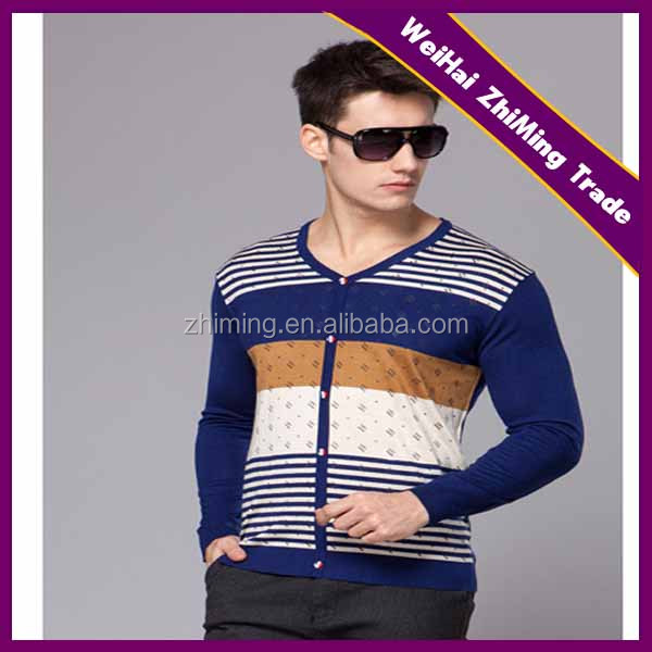 nice stipe tight mesh button cardigans for men