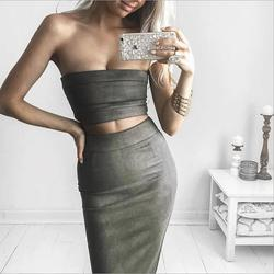 ladies women ribbed pencil autumn skirt and crop top suits set,latest pictures of design maxi long suede skirt
