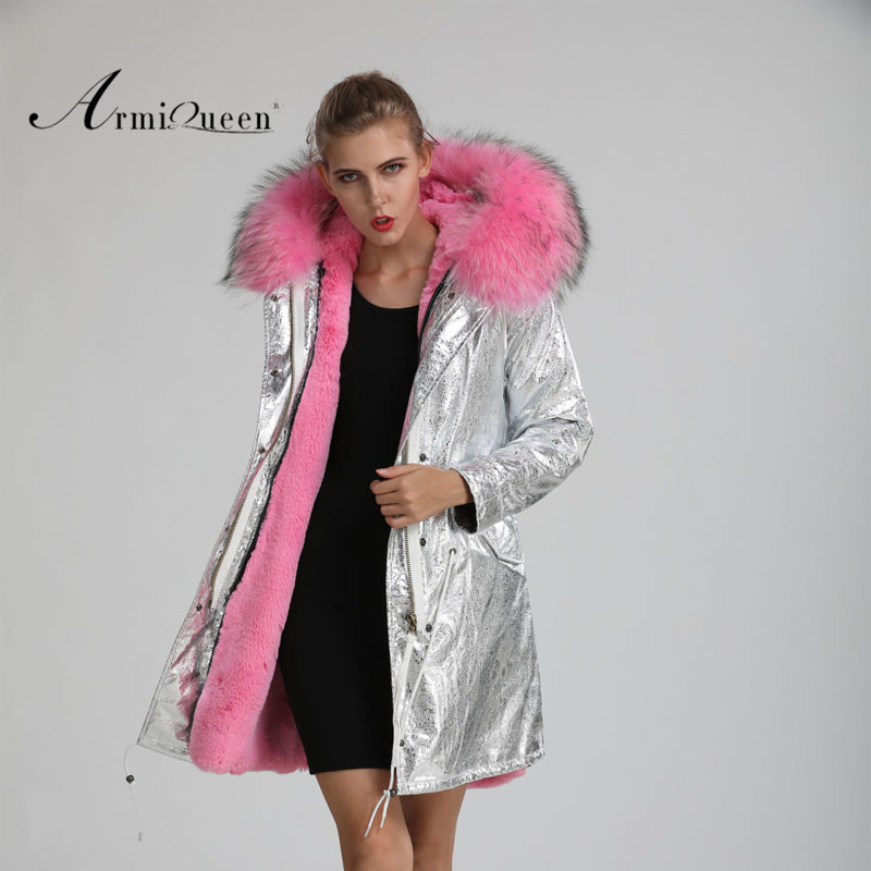 Raccoon Fur Hoodies Casual Synthetic Pink Fur Jacket Women Fur Lined Leather Jacket