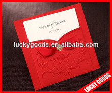 Embossing red color wedding cards invitations with ribbon