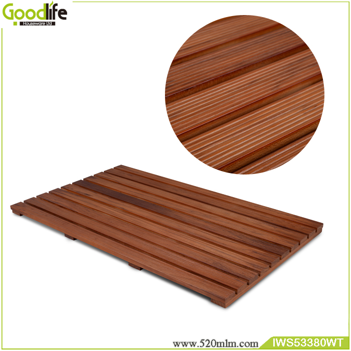 Goodlife Teak wood non slip bath mat set wholesale made in China