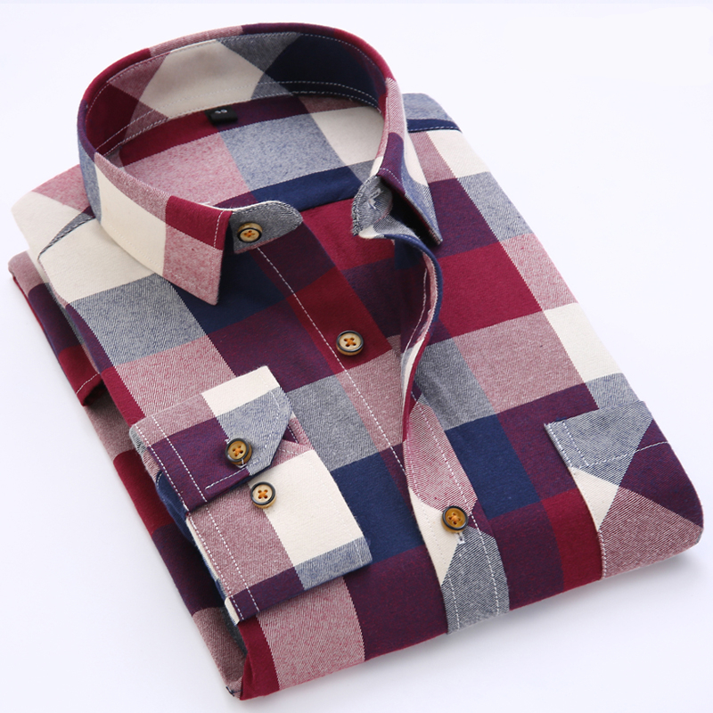 wholesale polyester cotton mens casual dresses chambray shirt plaid lined flannel shirt