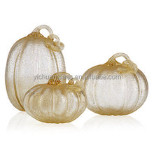 Mouth blown colorful pumpkin shaped glass crafts / glass LED lamp