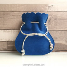 Drawstring pouch / bag / drawstring purse in blue suede lambskin Gift