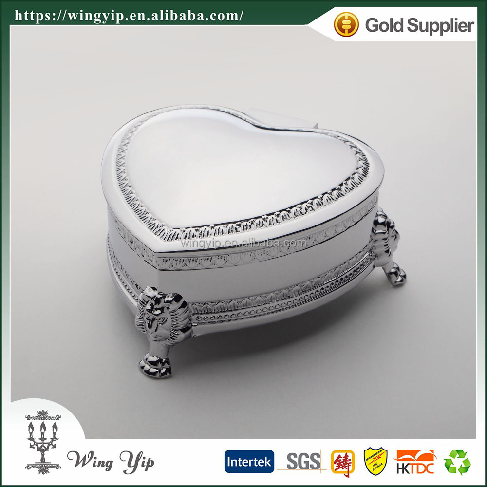 Wholesales Custom made Heart Shape with foot Silver Plated Metal Jewelry display box for gift
