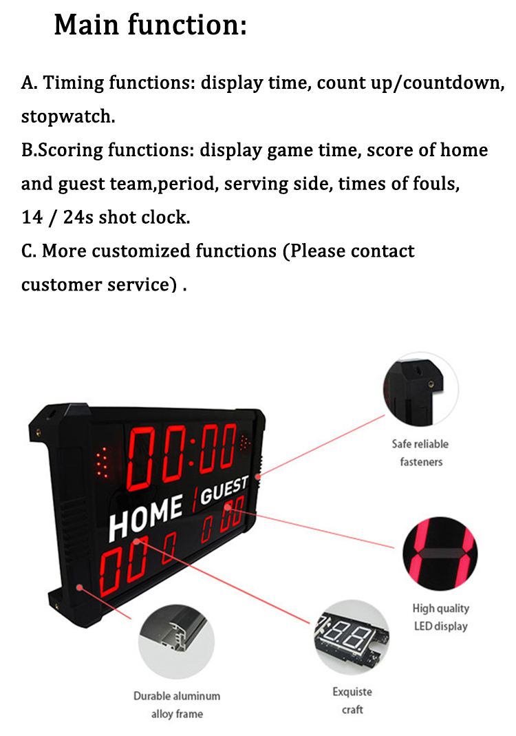 Ganxin  2019 new mini, basketball scoreboard with shot clock
