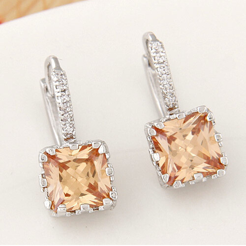 Newest fashion Zircon Jewelry Crystal Square Stud Earrings For Women 2017 free shipping