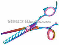 Professional Barber Thinning Hair Shears, Multi Color, Razor Edge, Sturdy Convex Blades, Size 6""